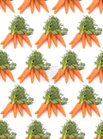 Photo for Carrot vegetable with leaves isolated on white background cutout. Seamless food pattern. - Royalty Free Image