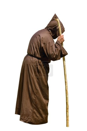 Monk with a Stick over the White Background...