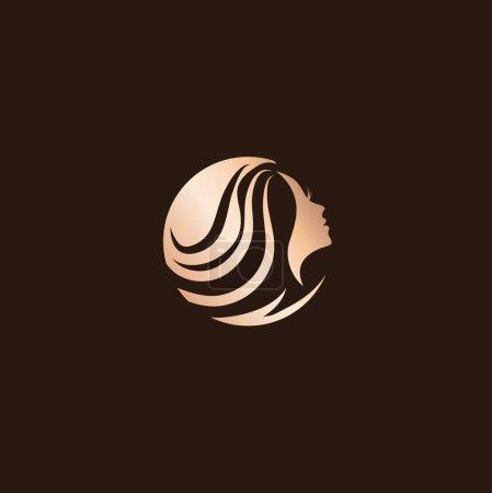 Illustration for Woman Beauty Hair Salon Logo Design At Dark Background - Royalty Free Image