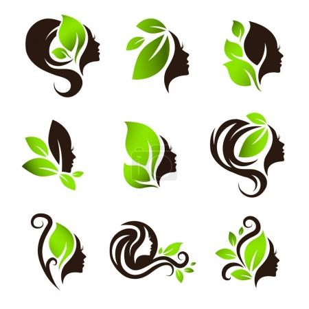 Woman Natural Beauty Hair Spa Salon Logo Design Set