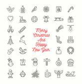 Vektor-Weihnachts-Linie Kunst Icons set