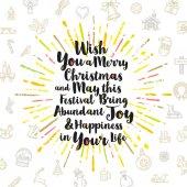 Weihnachtsgrußkarte mit kalligraphischen Schriftgestaltung, mehrfarbige Sunburst und Weihnachten Zeichen und Symbole
