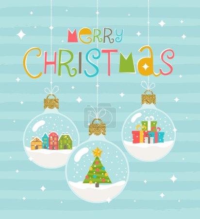 Illustration for Christmas greeting illustration - three snow globe hanging baubles. Vector illustration. - Royalty Free Image