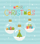 Christmas greeting illustration - three snow globe hanging baubles Vector illustration