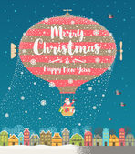 Christmas vector greeting illustration Hot air balloon with Santa Claus flight over the winter old town