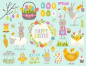 Set of cute Easter cartoon characters and design elements Easter bunny chickens eggs and flowers Vector illustration