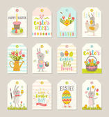 Set of Easter gift tags and labels with cute cartoon characters and type design  Easter greetings with bunny chickens eggs and flowers Vector illustration