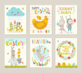 Set of Easter greeting card with cartoon characters flowers chickens and eggs Vector illustration