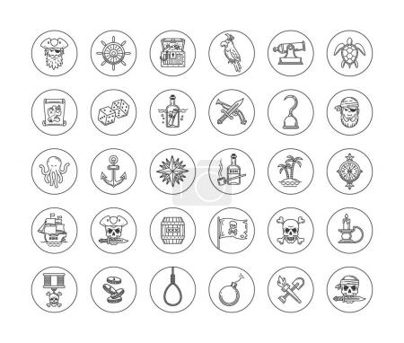 Pirate vector set - line drawn different objects, ...