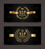 VIP golden invitation template - type design with crown laurel wreath and ribbon on a black pattern background Vector illustration