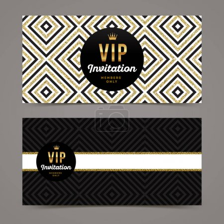 Vector template design for VIP invitation with glitter gold geometric background.