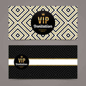 Vector template design for VIP invitation with glitter gold geometric background