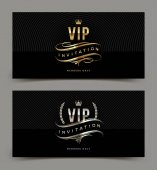 Golden and platinum VIP invitation template - type design with crown laurel wreath and flourishes on a black pattern background Vector illustration