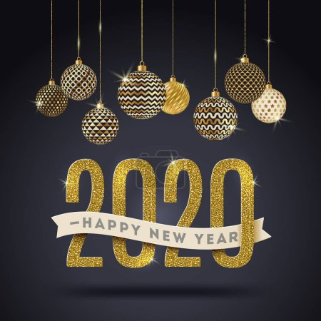 Illustration for Happy New Year 2020 - holidays vector illustration. Glitter gold numbers, banner with greeting and holiday shining baubles. Design for greeting card, invitation, poster and etc. - Royalty Free Image
