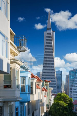 Photo for San Francisco downtown. Famous typical buildings in front. California theme - Royalty Free Image