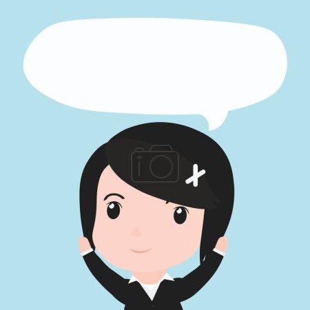 Illustration pour Femme d'affaires avec bulle de parole ides, dessin animé . - image libre de droit