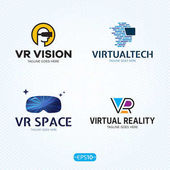 Virtual Reality Logo Vector Template Set
