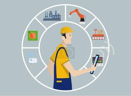 Illustration pour Industrie 4.0 Concept d'automatisation d'usine : chaîne de production contrôlée par un ouvrier qualifié avec tablette PC . - image libre de droit