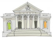 A facade of museum Classical architecture Cartoon Caricature