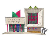 A facade of contemporary art museum Modern architecture Cartoon Caricature