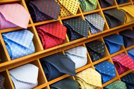Tie collection in shop