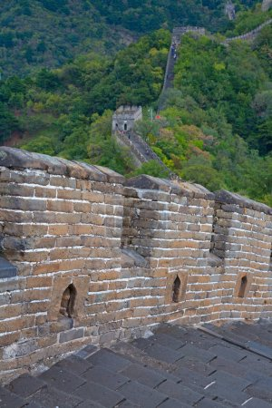 Famous Great Wall of China, section Mutianyu, located nearby Beijing city.