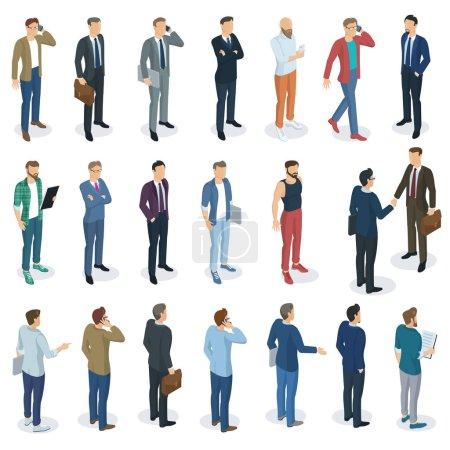 Photo pour Ensemble de vecteur de design plat 3D isométrique debout hommes différents personnages, styles et professions. Vue avant et arrière, divers personnages, professions, poses et styles. Ensemble d'éléments vectoriels maquettes . - image libre de droit