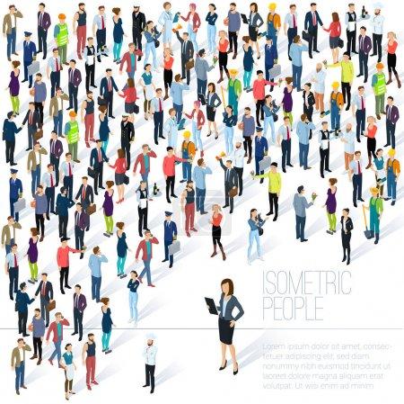 Illustration pour La foule. Fond vectoriel isométrique maquette. Hommes et femmes, diverses professions et styles, présentation de la diversité des personnes, site Web, modèle de bannière . - image libre de droit