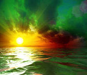 Toxic Sun Set in The Middle of The Ocean