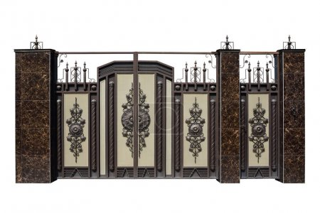 Forged gates and door with decor.