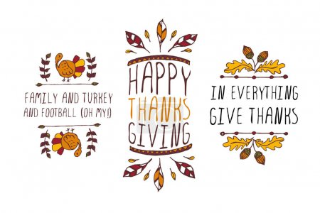 Illustration for Set of Thanksgiving elements. Hand-sketched typographic elements on white background. Family and turkey. Happy Thanksgiving. In everything give thanks. - Royalty Free Image