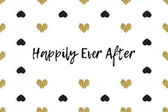 Valentine greeting card with text black and gold hearts