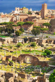 The ancient ruins of the Roman Forum, Italy, as seen from the Palatine Hill
