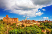 A panoramic view of the city of Siena at sunset