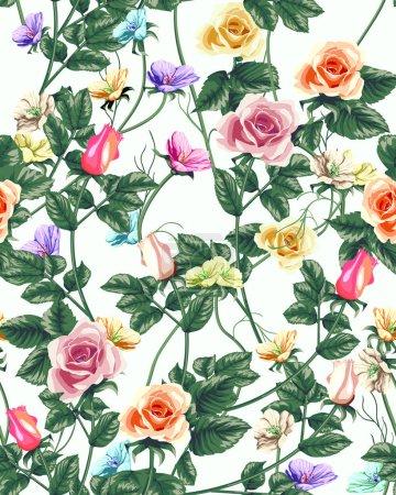 Illustration pour Papier peint classique motif de fleurs vintage sans couture - image libre de droit