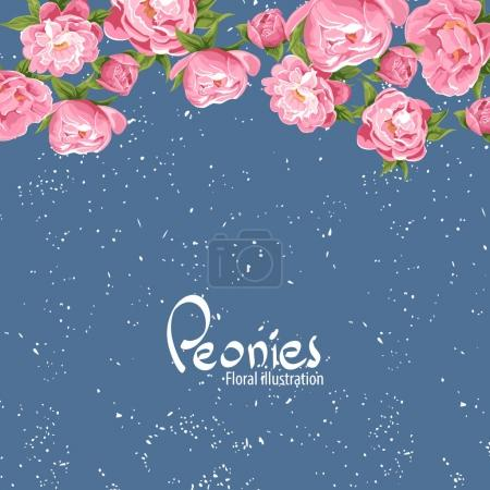 Beautiful peonies on a blue background