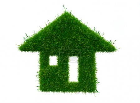 Green house with growing grass isolated on white background