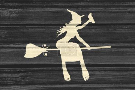 Photo pour Illustration de l'icône de la jeune sorcière de vol. Silhouette de sorcière sur un manche à balai. Raven s'asseoir sur place. Image relative de Halloween. Texture du bois - image libre de droit