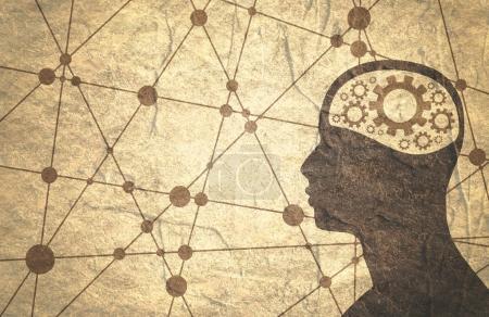 Photo pour Silhouette d'un mans tête avec gear. Santé mentale relative brochure ou rapport modèle de conception. Conceptions médicales scientifiques. Lignes connectées avec des points. Texture grunge - image libre de droit