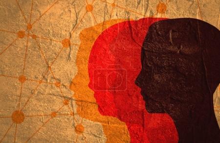 Photo pour Silhouettes des têtes d'hommes et de femmes. Brochure relative à la santé mentale ou modèle de rapport. Conception médicale scientifique. Travail d'équipe et concept de communication sociale. Lignes connectées avec des points . - image libre de droit