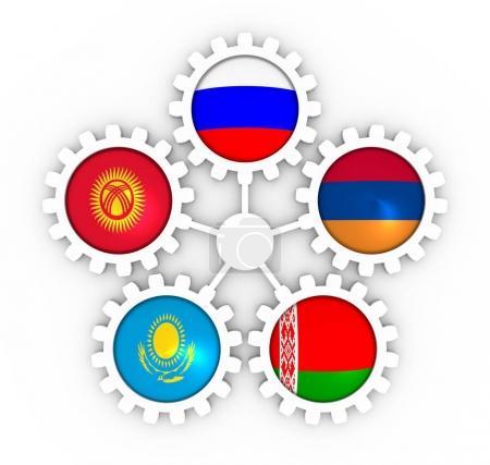 Photo pour EAEU Union économique eurasienne association de cinq économies nationales membres drapeaux sur les engins. Travail d'équipe mondial. rendu 3D - image libre de droit