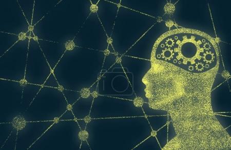 Photo pour Silhouette d'une tête d'homme avec engrenage. Modèle de brochure, de rapport ou de dépliant relatif à la santé mentale. Conception médicale scientifique. Lignes connectées avec des points . - image libre de droit