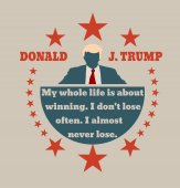 Man flat icon with Donald Trump quote