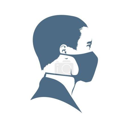 Illustration pour Icône abstraite de l'homme portant un masque médical - image libre de droit