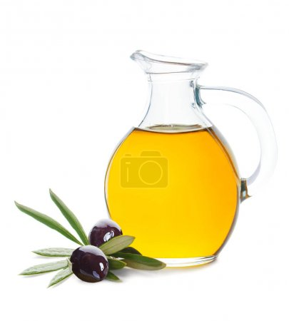 Glass Bottle of Organic Olive Oil and Black Olive Isolated
