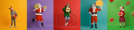 Photo for Merry Christmas! Happy children and Santa Claus on multicolor background. - Royalty Free Image
