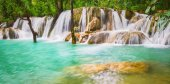 Tat Sae Waterfalls. Beautiful landscape, Laos. Panorama