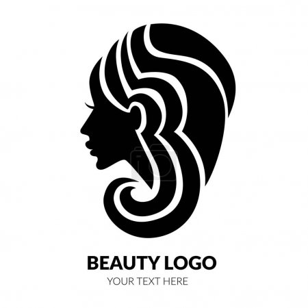 Illustration for Vector illustration of woman with beautiful hair - can be used as a logo for beauty salon. Fashion. Beauty. Style logo - Royalty Free Image