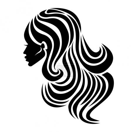 Illustration for Vector illustration of logos. Neon woman with beautiful hair - can be used as a logo for beauty salon. Fashion. Beauty. Style logo. - Royalty Free Image