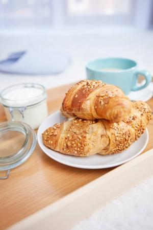 Breakfast in bed on tray
